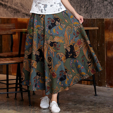 National Style 21 Colors Ladies' Cotton Linen Half-length Chinese Women's Pleated Summer New Casual Flared Short Dress CTN032001(China)