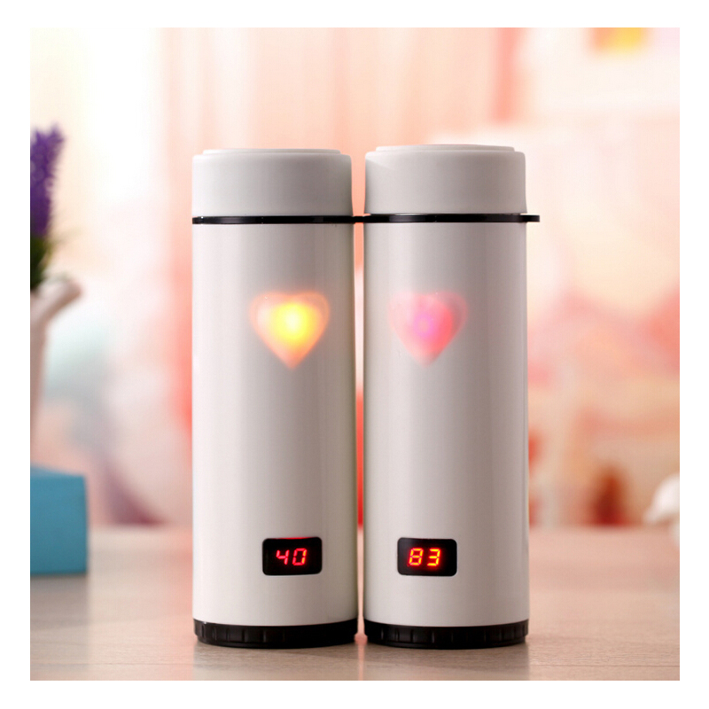 insulated cups Creative touch love keep-warm glass display temperature Stainless Steel Thermoses Mug Vacuum Fask Cups(China (Mainland))