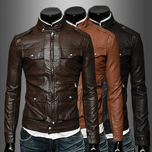 2014 brand new men's winter warm-quality leather jackets, button-multi-multi-pocket Collar mens leather jackets and coats 730(China (Mainland))