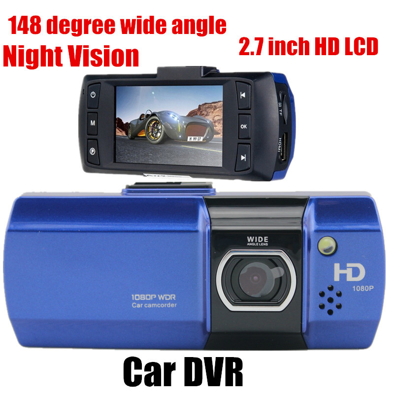 148 degree wide angle Full HD Car DVR Video Recoder Camera G-Sensor 2.7 inch LCD Night vision Free shipping(China (Mainland))