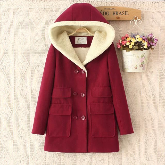 2017 Winter Coats Womens Double Pocket Hooded Coat With Thick Warm Cotton-padded Jacket Winter Jacket