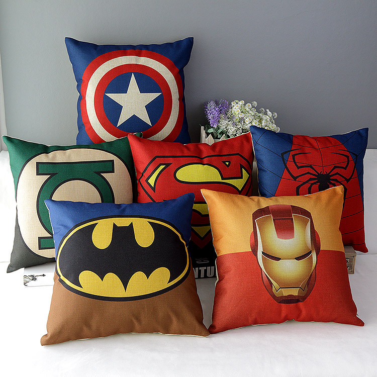 "18"" Square Lego Super Hero Series Cotton Linen Cushion Cover Ikea Decorative Throw Pillow Home Sofa Car Chair Pillow Case HD329(China (Mainland))"