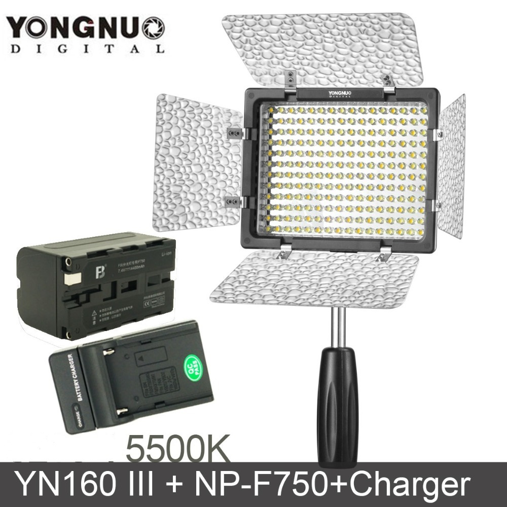 SET! Yongnuo YN160 III 3200-5500K CRI95 160 LED Video Light with 4400mAh NP-F750 Battery &amp; Charger<br><br>Aliexpress