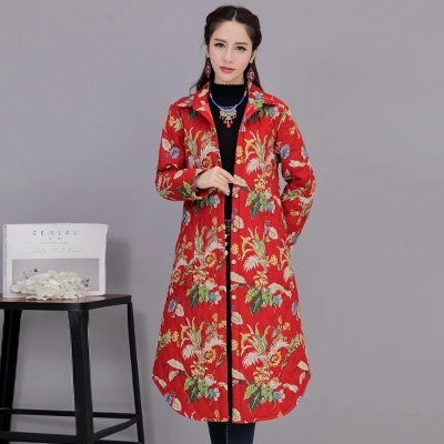 Plus Size Women's Clothing Chinese Ethnic Cotton Coat Women Elegant Fall Winter Coat Jacket Vestido 6603