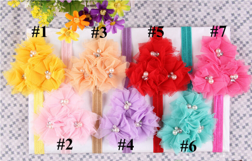 10 Colors Beautiful Chiffon Big Flower Headband Girl Baby Hair Band Headwear Child for Photography Props Flower Headbands