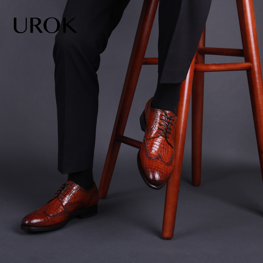 UROK Men Wedding Shoes Full Grain Leather Plain Square Toe Brown Lace-up Low Heel Sapatos Wingtip Brogue Derby Men Dress Shoes(China (Mainland))