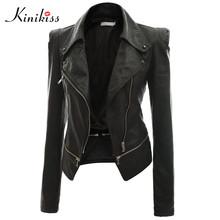 Kinikiss 2016 fashion women short black leather jacket coat autumn sexy steampunk motorcycle leather jacket female gothic coat(China (Mainland))