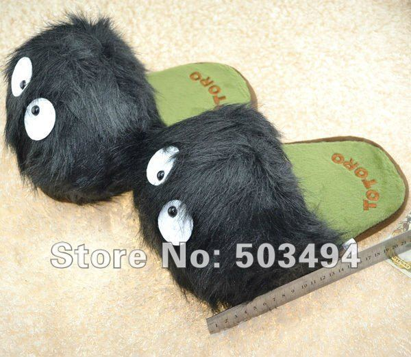 My Neighbor Totoro Ghibli Dust Bunny Adult Plush Figure Doll Slipper Totoro slippers 11inches BLACK  totoro dust bunny slippers
