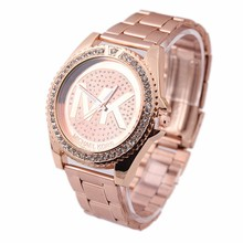 2015 New hot selling fashion,Luxury, simple men's women's diamond rose gold alloy steel band  casual quartz  watch
