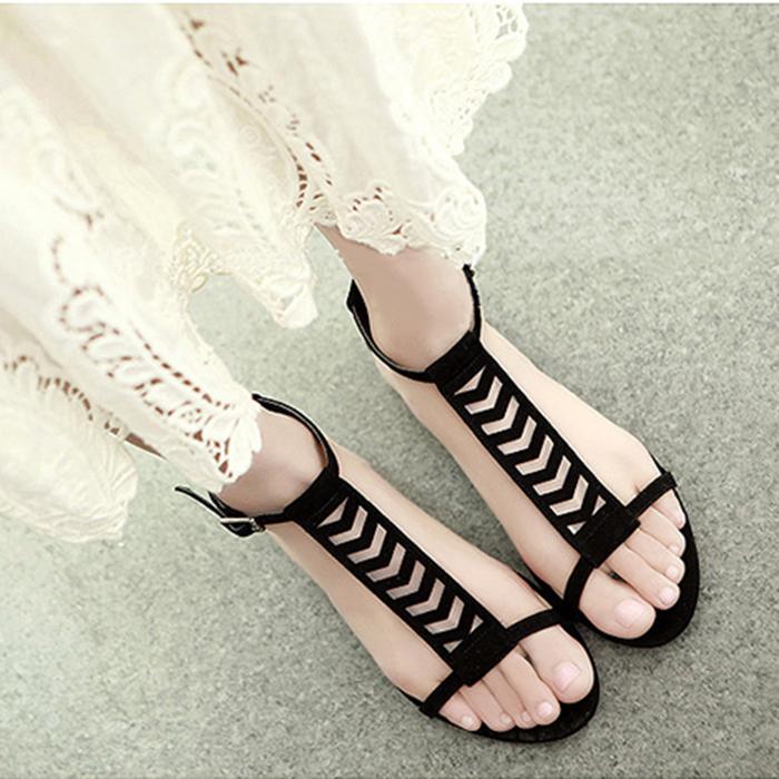 2015 Summer cool leather wmen sandals comfortable hollow women flats Korean fashion Size 35-39 - Designer shoes house store