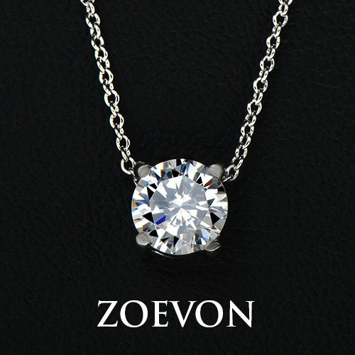 ZOEVON Best Sell White Gold Plated with 4 Prongs Shining Solitaire 1.25ct Cubic Zirconia Diamond Pendant Necklace (China (Mainland))