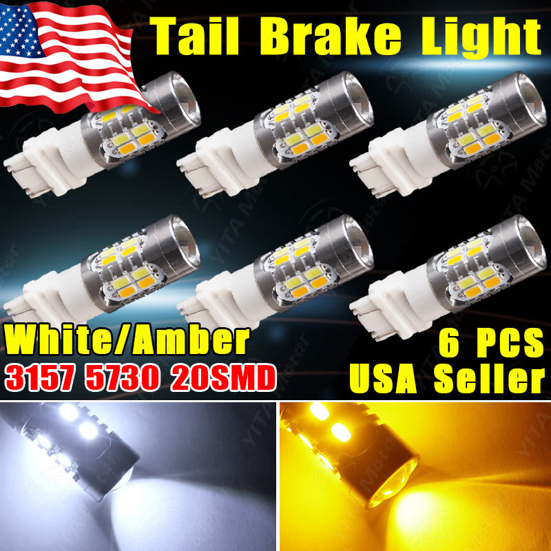 6Pcs White Parking DRL+Yellow Blinker Corner Lights Dual Color 3157 60W 5730 High Power 20 led Switchback Light Bulbs with Lens(China (Mainland))