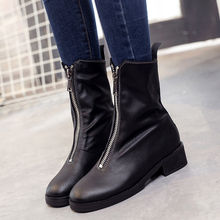 2016 Autumn and winter the new zipper ladies boots Retro rain snow wood to keep warm fashion washion women's shoes max fenty(China (Mainland))