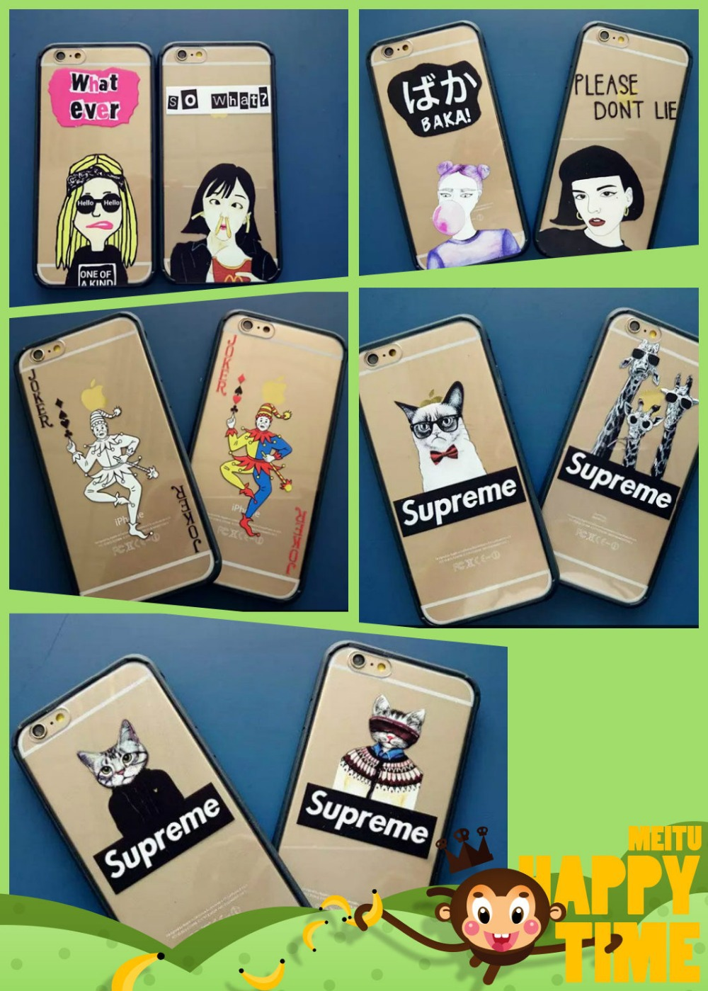 Fashion letters supreme cat lips fries girl eyes phone case Transparent soft silicone Borders for iphone 6plus 5.5 cases cover(China (Mainland))