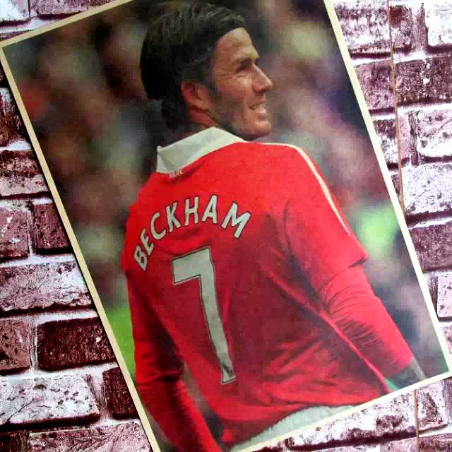 David Beckham no.7 of soccer football pride Retro Vintage Decorative Posters Kraft Home Decor Gift Kids Wall Sticker Funs poster(China (Mainland))
