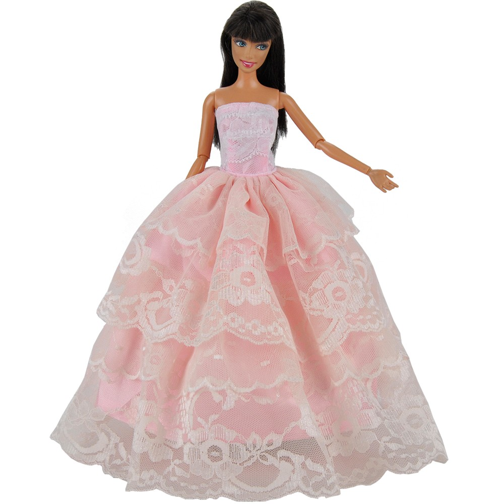 E-TING Handmade Dolls Garments Pink Marriage ceremony Costume Get together Robe Outfit For Barbie Dolls A