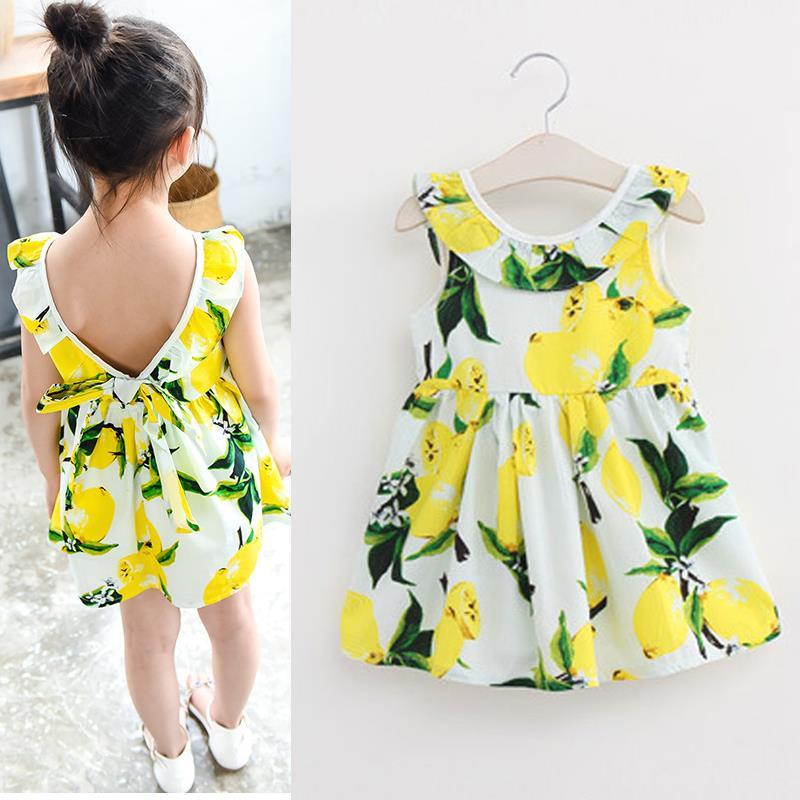 Fashion Girls Lemon Dress Children Sundress Baby Girls Clothes V-back Ruffles Bowknot Dress for Kids Girl Dress Summer 2016(China (Mainland))