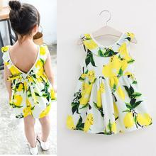 Fashion Girls Lemon Dress Children Sundress Baby Girls Clothes V-back Ruffles Bowknot Dress for Kids Girl Dress Summer 2016