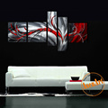100 Hand Painted 5 Piece Canvas Art Modern Abstract Oil Painting on Canvas Black and Red