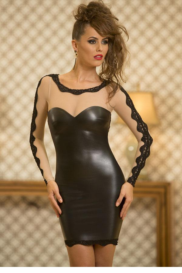 Autumn Casual Nude Mesh Sexy Bodycon Black Faux Leather Club Dress 2016 Women Long Sleeve Patchwork Dresses LC21941 Black Friday(China (Mainland))