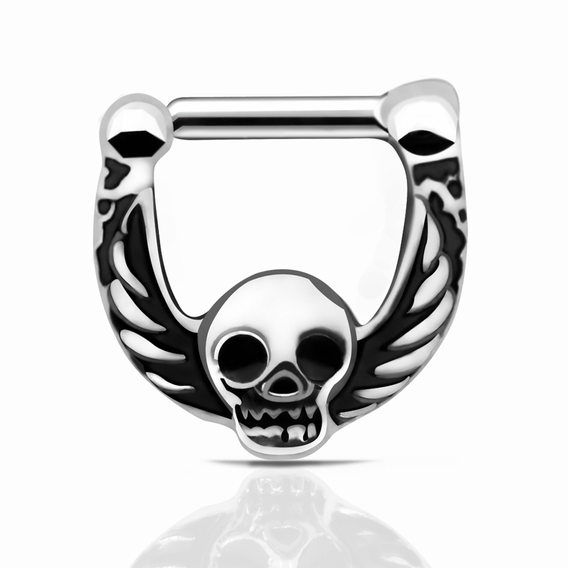 Free shipping 316L Stainless Steel Septum Clicker Skull Wings Nose Ring Nose Ring Jewelry Nose Piercing nose Septum clicker(China (Mainland))