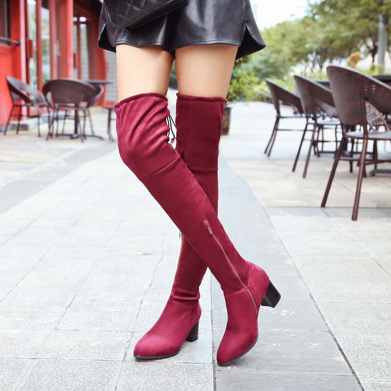 WETKISS Plus Size 34-46 2016 Women's Comfort Winter Boots Add Fur Warm Thigh High Boots Sexy Knot Thick Heels Nubuck Shoes Woman