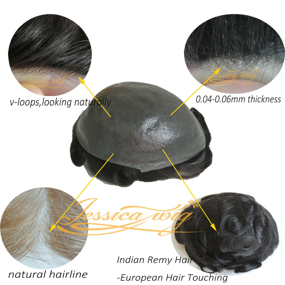 4 In Beautie 0.04mm Polyskin Hair Replacement V loops Super Natural Hairline Men's Toupee