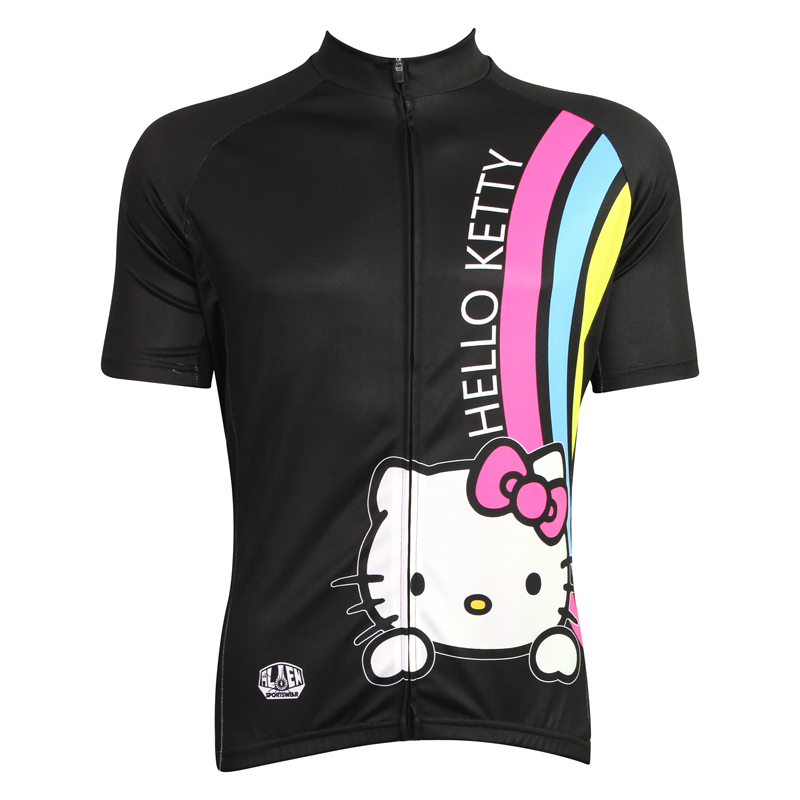 2015 Cartoon Cycling Clothing Short Sleeve Cute Cat Funny Jersey Animation Kitty Black Bike Shirts - cycling jerseys' store