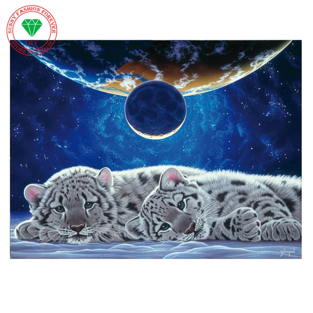 Square full drill diamond embroidery Tiger needlework cross stitch set square diamond painting animal wall picture painting(China (Mainland))
