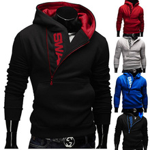New Brand Slant Zipper Design Men Pullover Sport Letter tracksuit Jacket sudaderas masculino sportswear coat clothing 4XL HS696(China (Mainland))