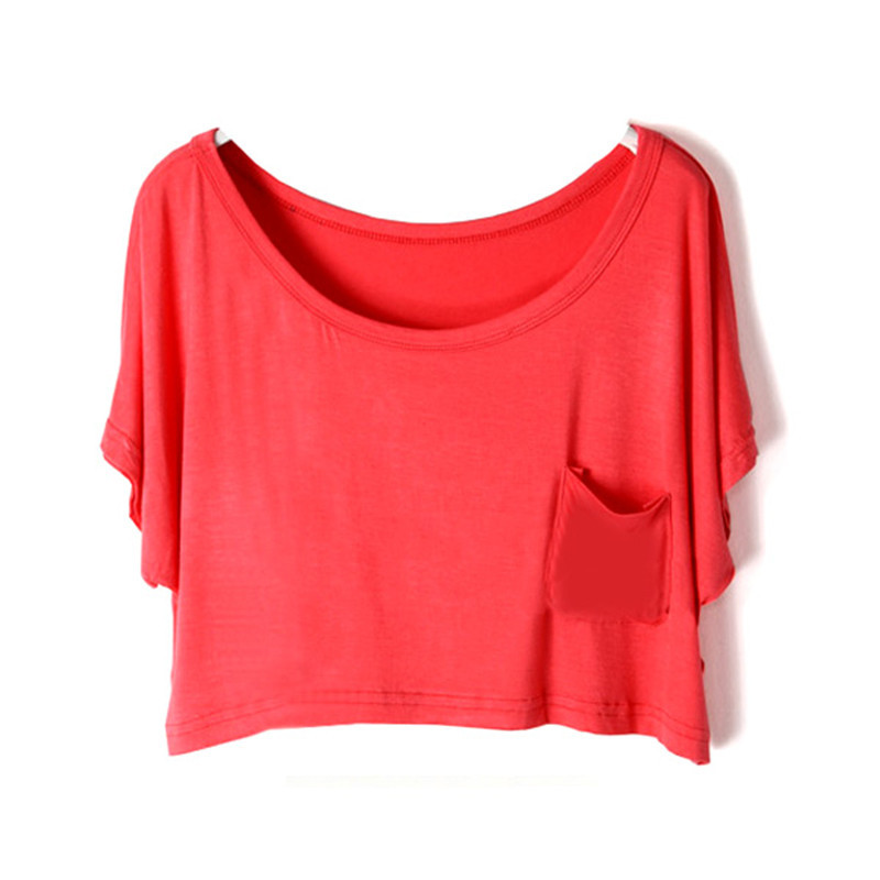 Women Girl Loose Batwing Sleeve Summer T-Shirt Crop Top Modal Casual Tops Candy Color 11 Colors - Always Fashion Shop store