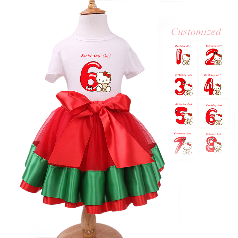 Hot! Girls Princess Paty Clothing hello kitty T shirt tutu skirt Baby Minnie Clothes sets for 1-8 Years Kids 2016 New Summer(China (Mainland))