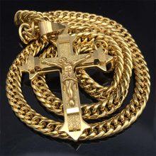 """Złoty tone krzyż chrystus jezus wisiorek naszyjnik ogniwo ze stali nierdzewnej rolo łańcuch ciężkich mężczyzn biżuteria prezent 21.65 """"7mm(China)"""