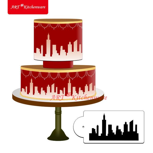New York Skyline Cake Stencil Cake Side Stencil Fondant ...