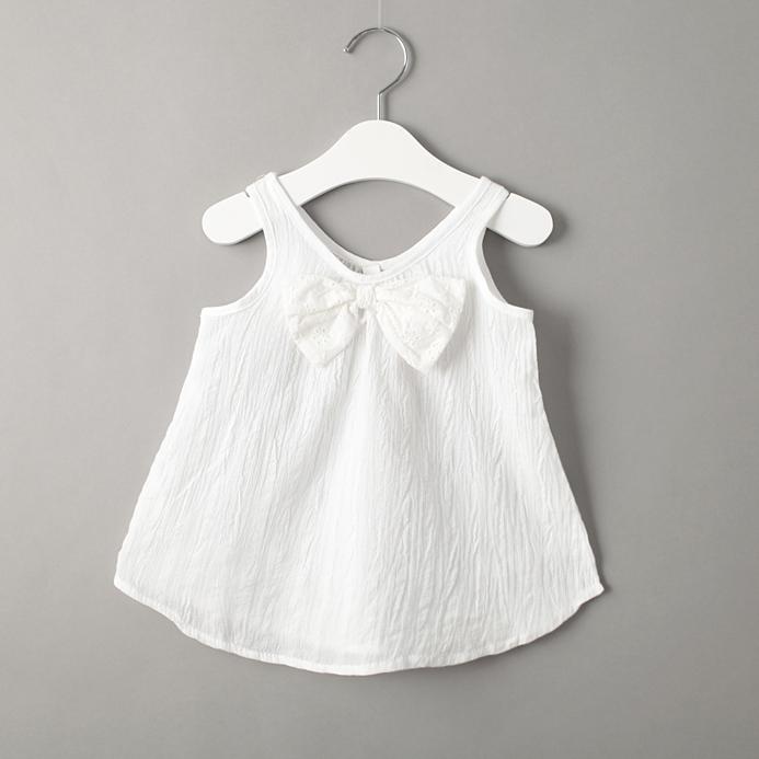 New 2015 summer girls baby cotton sleeveless T-shirt vest bow little girl fashion tops()