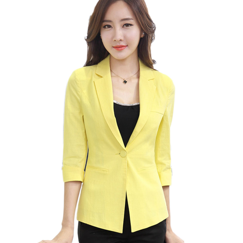 Plus Size XXXL Spring Summer OL Jacket Woman Blazer Seven ...
