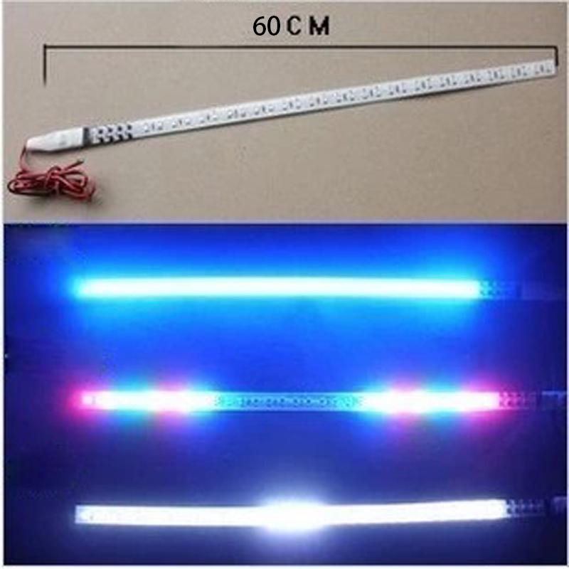 2 pcs 60cm LED DRL Car Strobe flash Decoration Strip 100%Waterproof LED Flexible Strips Knight Rider Car Light(China (Mainland))