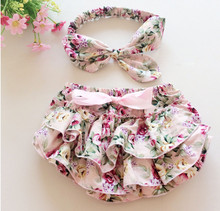Newborn Baby bloomers floral Baby girls shorts+Headband clothes sets baby diaper covers infant shorts ruffles  bloomers(China (Mainland))