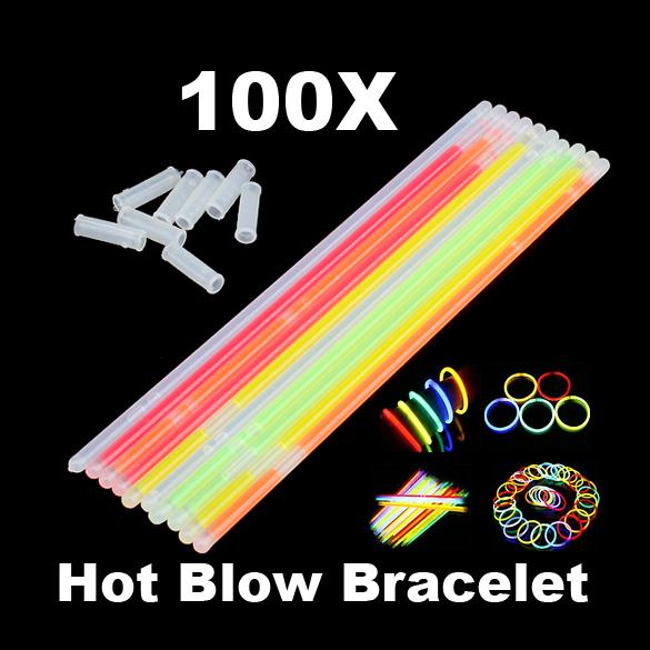 100pcs Multi Color Glow Fluorescence Sticks Bracelets Necklaces Neon Party Bright Colorful Light PTSP(China (Mainland))