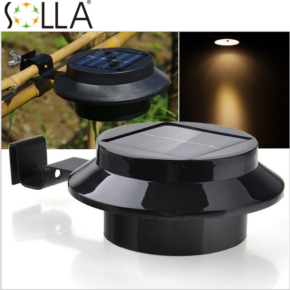 2016 Hot Black Solar Power 3 LED Fence Sink lighting Outdoor Garden Lobby Pathway Wall Lamp<br><br>Aliexpress