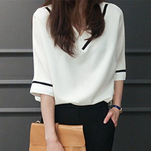 4XL 5XL Big Size Fashion Women Blouse Solid V Neck Bat Sleeve Blouses Women's Summer Casual Chiffon Shirt Top Blusas Femininas
