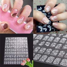 High quality Nails Sticker beauty tools 3D DIY Flower Design Nail Art Stickers Flower Manicure Tips Decals 108pcs white
