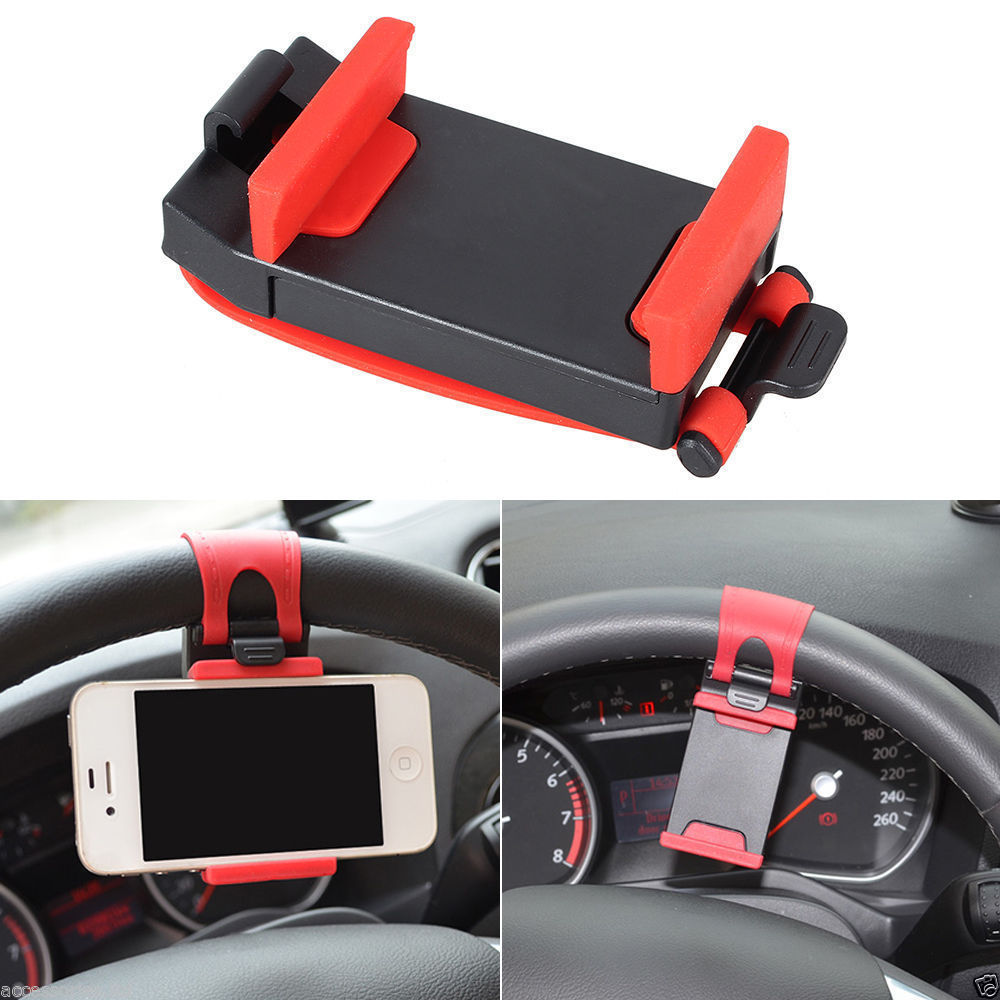 Universal Car Steering Wheel Mount Holder Rubber Band for IPhone MP4 GPS Mobile Phone Holders(Hong Kong)