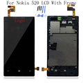 Black 100 Test For Nokia Lumia 520 LCD Display Touch Screen Digitizer Assembly Bezel Frame Replacement