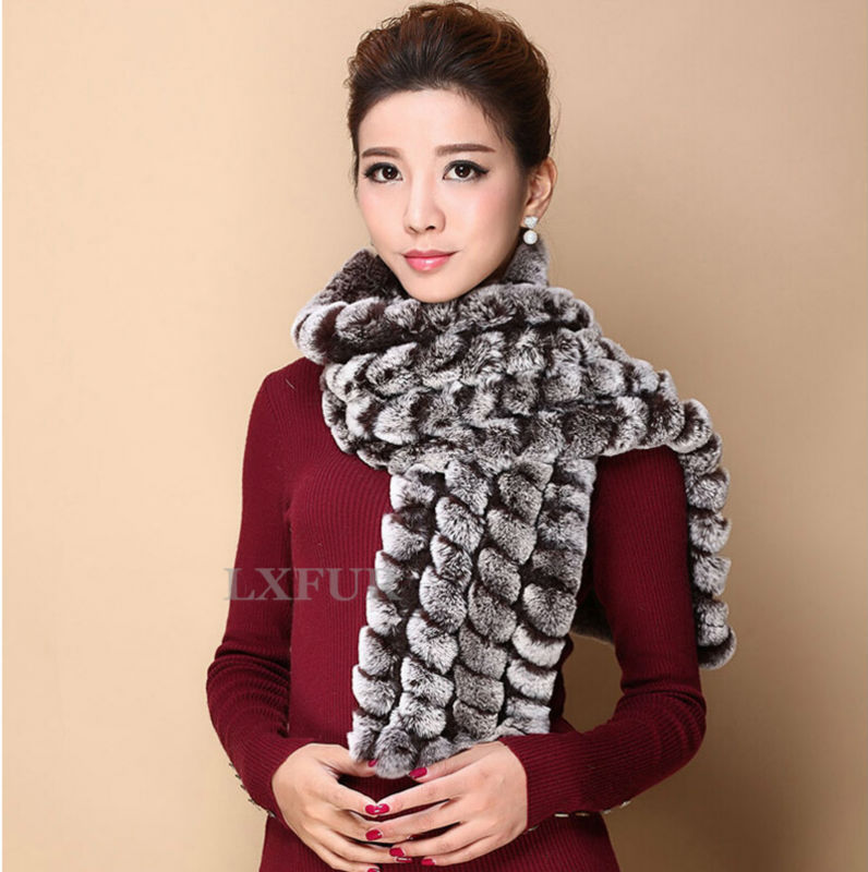 Womens Real Knitted Rex Rabbit Fur Scarves Casual Lady Wrap Winter Fashion Shawl LX00295 - LuxuryFur store
