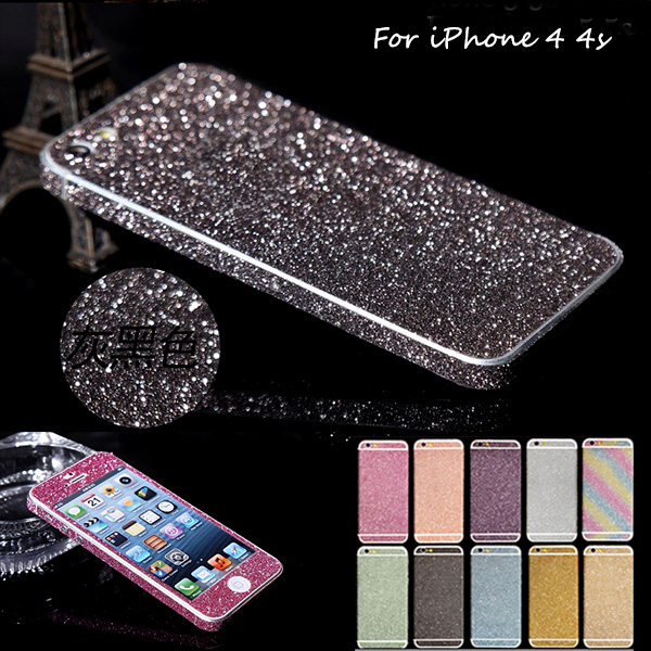 Luxury PVC Bling Rhinestone Sparkly Full Body Sticker Case For iPhone 4 4s 4G Glitter Matt Screen Protector Guard For iPhone 4(China (Mainland))