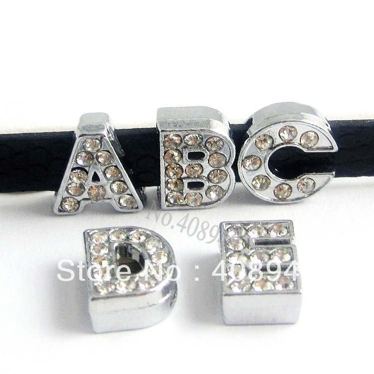 Free Shipping 130PCS 10MM Full Rhinestone Slide Letters English Alphabet A-Z Fit Bracelet Wristband /Pet Name Collar LSSL02*130(China (Mainland))