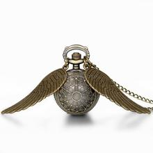 Hot New Vintage Bronze Punk Steampunk Quartz Harry potter Pocket Watch Wings Long Chain Necklace Clock For Women(China (Mainland))