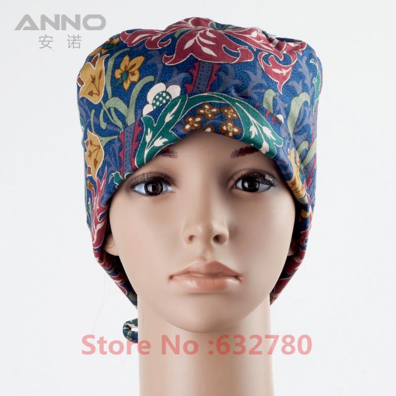 Elegant Vintage Flower Pattern Print Scrub Medical Surgical Surgery Hat Nurse Scrubs Cap for Women hospital nurse uniform cap An(China (Mainland))