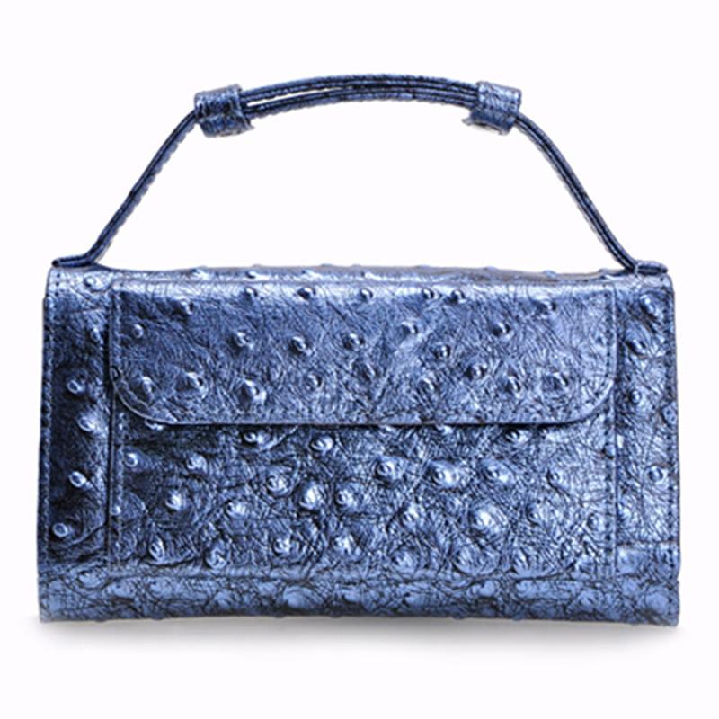 Women Bag Fashion Commercial Ostrich Handbag Lady Casual Envelope Clutch Designer Genuine Leather Evening Bag(China (Mainland))
